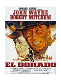 El Dorado, L-R: Robert Mitchum, John Wayne on French Poster Art, 1966. Giclee Print