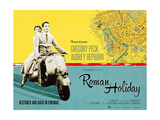 Roman Holiday, British Re-Release Poster Art, 1953 Giclée-tryk
