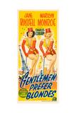 Gentlemen Prefer Blondes, L-R: Jane Russell, Marilyn Monroe on Australian Daybill Poster Art, 1953 Lámina giclée