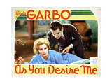 As You Desire Me, from Left, Greta Garbo, Melvyn Douglas, 1932 Giclée-tryk