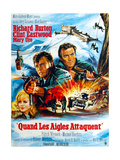 Where Eagles Dare, from Left, Mary Ure, Richard Burton, Clint Eastwood, 1968 Gicléedruk