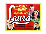 Laura, from Left, Clifton Webb, Dana Andrews, Gene Tierney, Vincent Price, 1944 Giclee Print