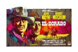 El Dorado, L-R: John Wayne, Robert Mitchum on Belgian Poster Art, 1966 Gicléetryck