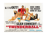 Thunderball, Center: Sean Connery on British Quad Poster Art, 1965 Giclee Print