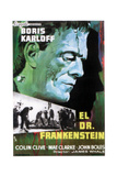 Frankenstein (AKA El Dr. Frankenstein), Top: Boris Karloff on Spanish Poster Art, 1931 Giclee Print
