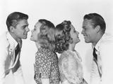 Brother Rat, from Left: Ronald Reagan, Jane Wyman, Priscilla Lane, Wayne Morris, 1938 Photo