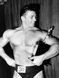 Mickey Hargitay, Who Has Just Won the Amateur Mr. Universe Contest in London, 1955 Photo