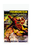 Frankenstein Meets the Wolf Man, (AKA Frankenstein Contre Le Loup Garou), Belgian Poster, 1943 Giclée-tryk