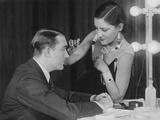 Gloria Swanson (Right) Applying Makeup to Husband Henri De La Falaise, 1920S Photo