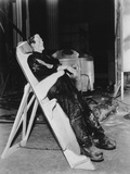 Frankenstein, Boris Karloff on a Reclining Board Between Scenes on Set, 1931 Photo