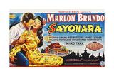 Sayonara, Marlon Brando, Miiko Taka on Belgian Poster Art, 1957 Giclee Print