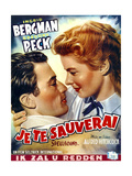 Spellbound, from Left: Gregory Peck, Ingrid Bergman on Belgian Poster Art, 1945. Giclee Print