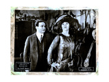 The Master Mystery, from Left, Harry Houdini, Edna Britton, Episode Seven, 'Barbed Wire,' 1919 Giclée-tryk