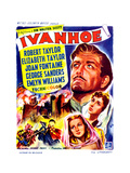 Ivanhoe, on Right, from Top: Robert Taylor, Elizabeth Taylor, Joan Fontaine; Belgian Poster, 1952 Giclee Print