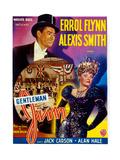 Gentleman Jim, (From Left): Errol Flynn, Alexis Smith, (Belgian Poster Art), 1942 Digitálně vytištěná reprodukce