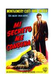 I Confess (AKA Mi Secreto Me Condena), Montgomery Clift, (Argentine Poster Art), 1953 Giclee Print