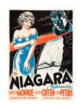 Niagara, L-R: Marilyn Monroe, Joseph Cotten on Danish Poster Art, 1953 Giclee Print