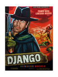 Django, from Left on French Poster Art: Franco Nero, Loredana Nusciak (Tied to Poles), 1966 Giclee Print