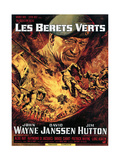 The Green Berets (AKA Les Berets Verts), John Wayne Featured on German Poster Art, 1968. Giclee Print