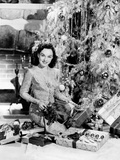 Paulette Goddard, Wishing Her Fans a Merry Christmas, 1940 Photo