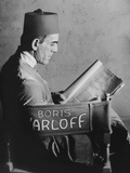 The Mummy, Boris Karloff Reading the Script on Set, 1932 Photo