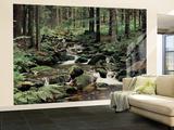 Stream in a Forest Non-Woven Vlies Wallpaper Mural Vægplakat i tapetform