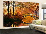 Autumn Bridge Non-Woven Vlies Wallpaper Mural Mural de papel pintado