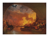 The Great Fire of London Premium Giclee Print by Philip James De Loutherbourg