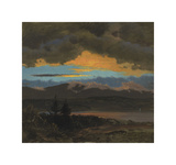 Sunset Across the Hudson Valley, New York Premium Giclee Print by Frederic Edwin Church