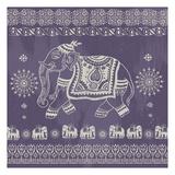 Boho Elephant Purple Prints