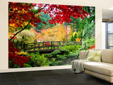 Bridge in Japanese Garden Non-Woven Vlies Wallpaper Mural Vægplakat i tapetform