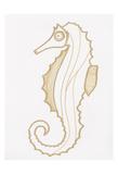Golden Seahorse Prints