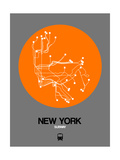 New York Orange Subway Map Prints by  NaxArt