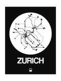 Zurich White Subway Map Posters by  NaxArt