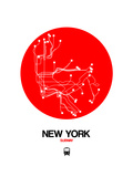 New York Red Subway Map Prints by  NaxArt