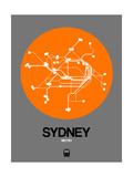 Sydney Orange Subway Map Prints by  NaxArt