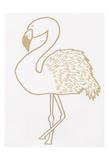 Golden Flamingo Print