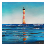 Red Stripe Light House Print