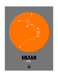 Miami Orange Subway Map Poster by  NaxArt