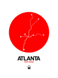 Atlanta Red Subway Map Posters by  NaxArt