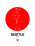 Seattle Red Subway Map Posters by  NaxArt