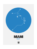 Miami Blue Subway Map Prints by  NaxArt
