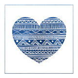 Indigo Tribal Heart 1 Prints