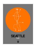 Seattle Orange Subway Map Prints by  NaxArt