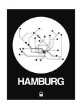 Hamburg White Subway Map Prints by  NaxArt