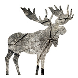 Wood Moose White Poster