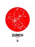 Zurich Red Subway Map Posters by  NaxArt