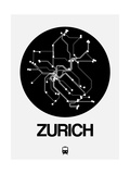 Zurich Black Subway Map Art by  NaxArt
