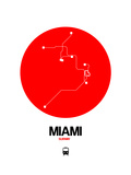 Miami Red Subway Map Prints by  NaxArt