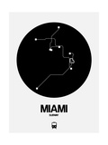 Miami Black Subway Map Print by  NaxArt